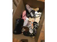 Box of shoes/sandals uk size 6/7 plus black bag