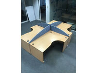 4 X office corner angle desk pod with divider