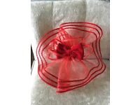 Large Red Fascinator For Sale