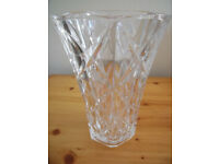 Large, heavy, hexagon-shaped, clear, cut glass vase. £2.