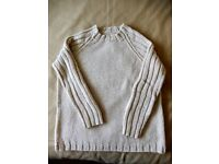 """Hand Knitted Raglan Jumper, Sirdar Chunky, Beige with Ribbed Sleeves, 50"""" Chest"""