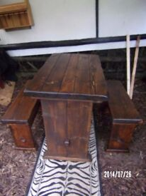 rustic table / benches for two