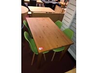 Pine Table and 4 Green Retro Chairs