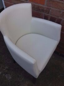 White faux leather upholstered armchair / chair
