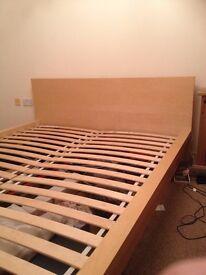 King size Bed. Light oak Ikea Malm I think it is ..?