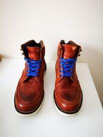 Bertie Boots (Tan Leather Wedge Sole Colour Pop Blue) Size 10