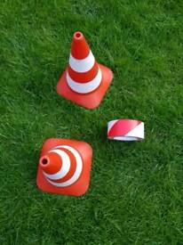 Building cones and builders tape role play