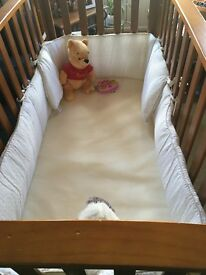Large wood slat cot / playpen with foam mattress & bumpers included - value £150 on sale for £20