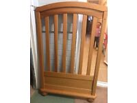 MAMAS AND PAPAS SOLID PINE COT WITH MATCHING BABY CHANGER INCLUDED