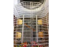 bird cage with toys and food