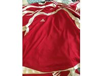 Adidas football shirts - red and white long sleeve x 12