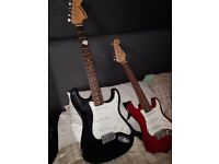 Fender starcaster VGC black with back and lead