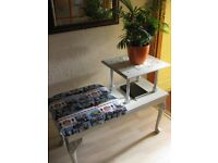 SUPER BEAUTIFUL UPCYCLED PHONE TABLE:SIZE: L-96.5cm, W-42.5cm, H-46cm lowest, H-74.5cm highest. BS16