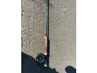 Airflo 9 foot fly fishing rod and reel 6/7 weight with line and backing