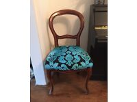 French style Louis chairs with black and blue velvet fabric