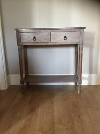 Consul table with drawers and shelf