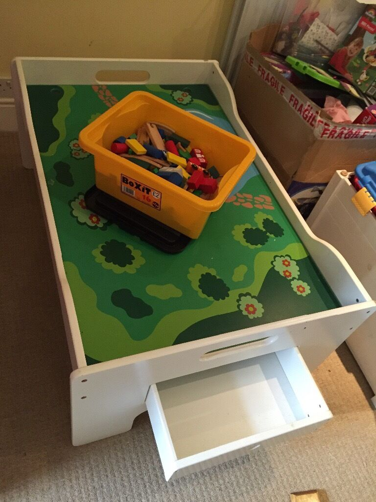 Train Set Table With Drawers Beautiful Play Table With Wooden Train Set And Two Deep Drawers