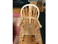 Childs pine rocking chair