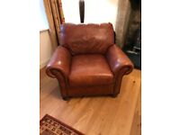 Brown leather John Lewis three piece suite for sale