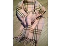 Burberry 100% Cashmere Scarf Baby Pink
