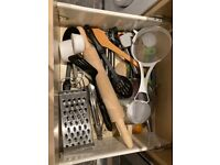 Kitchen utensils, cutler, pots, pans and dishes