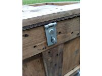 Rustic industrial wooden cube trunk/chest/storage/side or coffee table with casters.