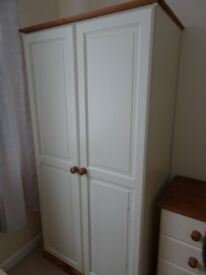 Tall double cream painted pine wardrobe single rail