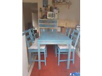 Solid Wood Blue Dining Table & Chairs - Shabby Chic