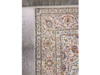 FULL ROOM SIZE PISTACHIO TONE HAND MADE PERSIAN KASHAN RUG 370x250