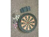 Darts board and Unicorn darts set