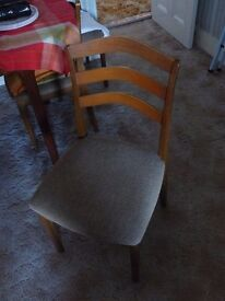 """Four Dining Chairs - Vintage Retro teak by """"Nathan"""" with padded fabric seat."""