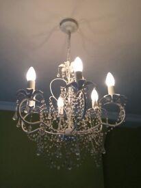B&Q white glass chandellier ceiling light