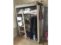 Light wooden and fabric wardrobe