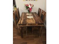 Dining table, 4 chairs, coffee table, 3 lamp stands- John Lewis Maharani set