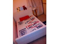 WHITE DOUBLE BED HEADBOARDS ,MATTRESS AND OTHERS
