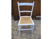 Cane-Seated Shabby Chic Bedroom Chair in Louis Blue