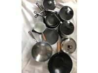 Selection of 10 pans and woks