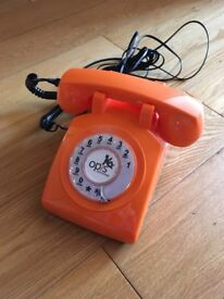 Bright Orange Retro Phone