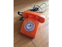 Bright Orange Retro Phone