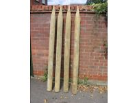 12 Half round wooden treated fencing posts