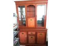 Oriental Style Birds Eye Maple Glass Fronted Cocktail Cabinet + built in Downlighters 6ft H 4ft L