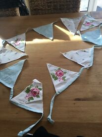 Blue and white Dunelm floral bunting