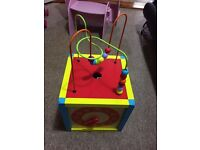 Wooden activity cube for kids