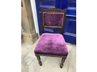Upholstered Bedroom Chair , in purple velvet with studding ....Would look great in any room....