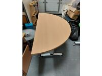 2 x half round folding tables on wheels