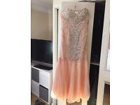 Apricot fishtail prom dress