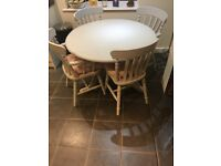 Grey painted round table and 4 chairs