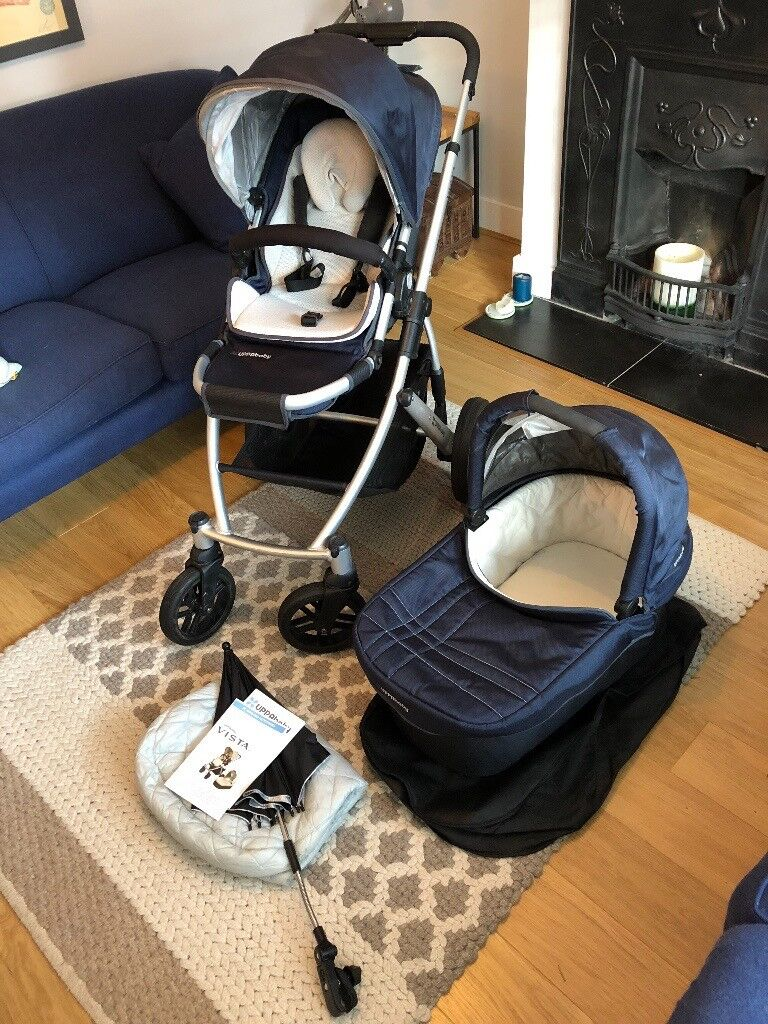 UPPABABY VISTA 175 Navy Blue Pushchair And Carrycot Infant Insert Maxi Cosi