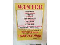 WANTED FOR CASH