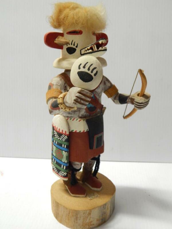 FINE VINTAGE HOPI PUEBLO INDIAN WHITE BEAR KACHINA DOLL - ARTHUR YOWYTEWA (d)